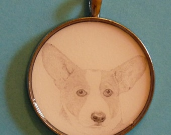 Welsh Corgi Original Pencil Drawing Pendant with Organza Pouch -Choice of Necklaces -Free Shipping- Desert Impressions