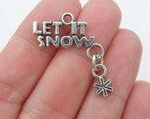 4 Let it snow Christmas connector charms antique silver tone SF51