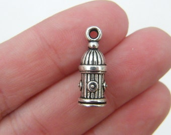 BULK 30 Fire hydrant charms antique silver tone P421 - SALE 50% OFF