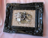 Shabby Chic Picture Frame with Vintage Jewelry/French Decor/Ready to Hang