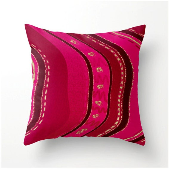 Decorative Throw Pillow Brick Red Hot Pink Moroccan style