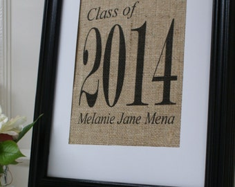 Free Shipping...Personalized Graduation Gift Burlap Print...Great for graduation gift!