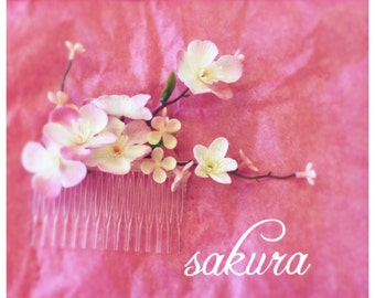 Sakura cherry blossom hair comb pink bridal bridesmaid