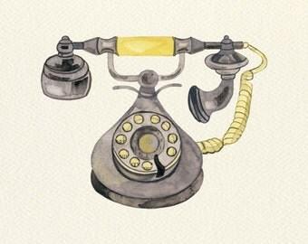 Rotary Telephone Unframed Watercolor Art Print