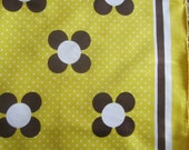 """Scarf 26"""" sq DAISY Brown & White on Yellow DOTS made in Japan"""