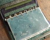 leather binder, verdigris crocodile, metallic green blue, antique emerald, planner binder, leather planner, handstitched