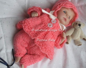 Doll KNITTING PATTERN - Cutie in Coral Matinee Jacket, Leggings and Bonnet for 7-8 inch Clay Baby or OOAK