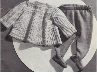 Baby Knitting Pattern - Knit Baby's Smock dress and Leggings 6 to 18 months