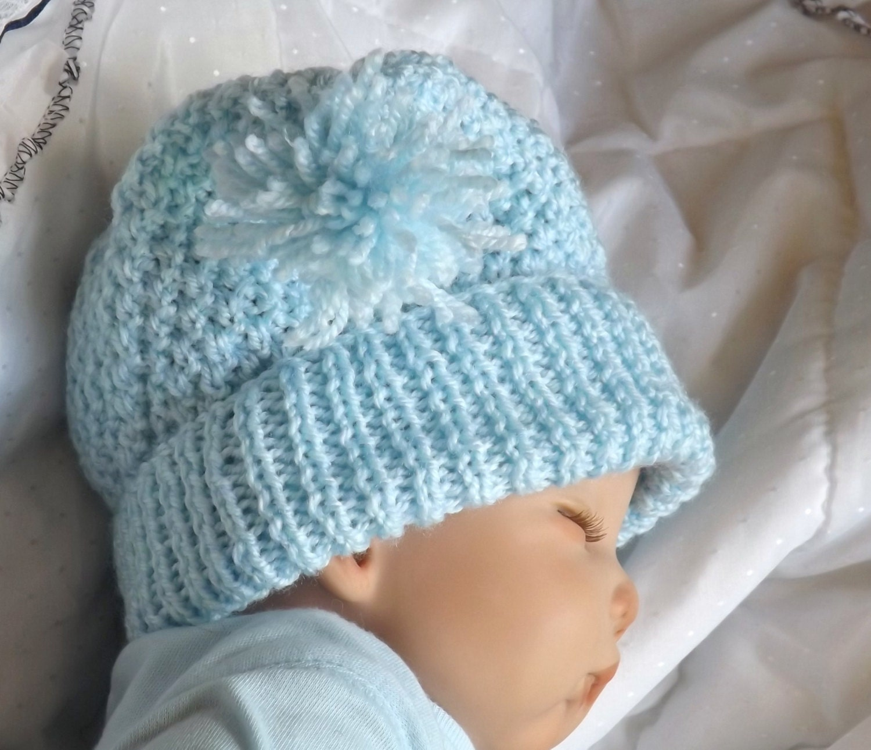 Baby KNITTING PATTERN Baby or Dolls Pom Pom Hat by carolrosa