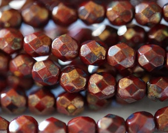 6mm Opaque Red with Bronze Picasso Finish Round Faceted Beads - Bead Soup Beads