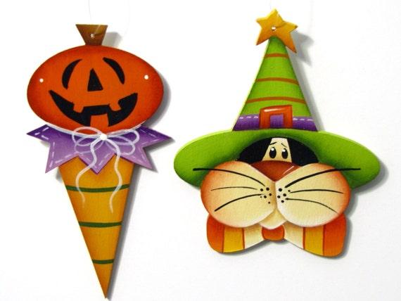 Black Cat, Pumpkin Halloween Ornament, Handpainted Wood