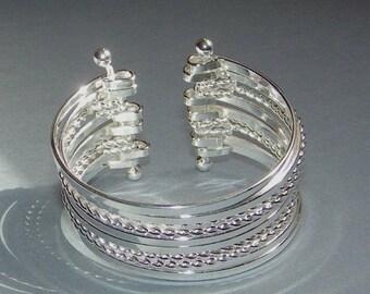Silver Hinged Cuff Bracelet