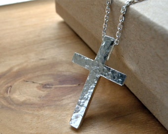 Hammered silver cross necklace - Unique cross silver necklace unisex christian jewelry - Nazareth Jesus cross necklace birthday gift idea