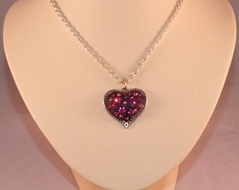Heart Shaped Antiqued Silver Pendant With Pink Preciosa Crystals