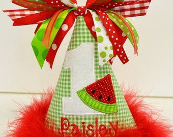 1st Birthday Party Hat customized with NAME and  number 1- 2-3 etc..Watermelon Theme