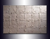 Original Textured metallic Pearl White Abstract Modern Painting Contemporary Fine Art by Henry Parsinia Large 36x24