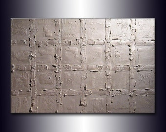 Original Textured metallic silver Abstract Modern Painting Contemporary Fine Art by Henry Parsinia Large 36x24