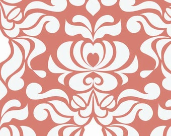 Valencia Damask by Lila Tueller and Riley Blake Designs Damask Coral, End Of Bolt