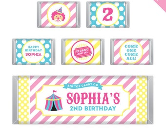 Pink Carnival or Circus Party - Personalized DIY printable Hershey bar labels