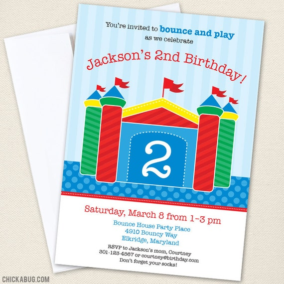Bounce House Party Invitations - Professionally printed *or* DIY printable