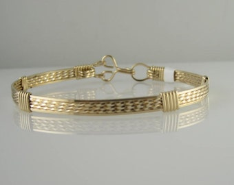 WSB-1131 Handmade 14k Gold Filled Wire Wrapped Bangle Bracelet