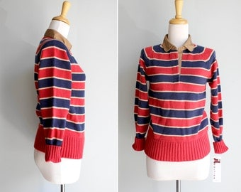 SALE Vintage Nautical Striped Pullover Sweater- Red Blue 1970's Polo Long Sleeve Collar Henley Stripe- Size Small S