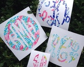 Lilly Pulitzer Vinyl - Monogram Decal - Many Sizes Available - For your Laptop, Cell Phone, Mirrors, CamelBaks,  Car Windows