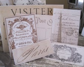 NEW french flea market set of 6 assorted vintage labels peel and stick