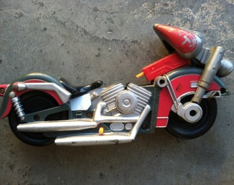 Vintage toy motorcycle molded painted plastic CHOPPER