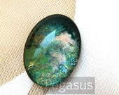 Meteor Green Glass OVAL Unset Cabochon (3 Piece)(5 size option) 40x30mm Fantasy Galaxy Opal pendant for wedding favor,costume,jewelry making