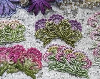 Flower Lace Applique Hand Dyed Venise Crazy Quilt Embellishment Applique
