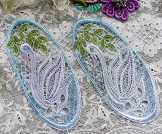 Swan Venise Lace Hand Dyed Applique