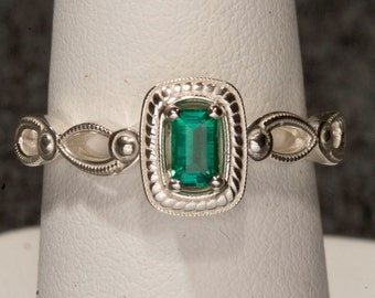 Emerald Unique Engagement Ring, May Birthstone Ring, Color Engagement Ring