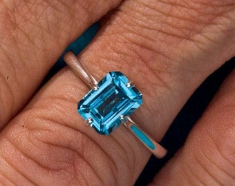 London Blue Topaz December's Birthstone Ring, Unique Engagement Ring, Gemstone Ring, 4th Anniversary gift