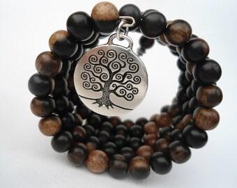 Tree of Life 108 Bead Mala Bracelet Japa Mala Pagan Prayer Beads Pagan Prayer Bead Bracelet Tree of Life Wrap Bracelet  Natural Earthy Cuff