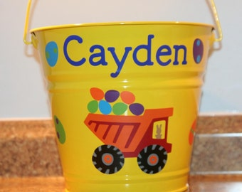Personalized Toy, Birthday, or Easter basket/pail for boys - Dump Truck and Easter eggs