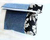 Denim clutch, denim foldover purse, recycled jeans, color block, black and white, foldoverbag, Autumn bag, denim handbag