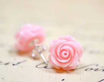 Cotton Candy Pink Rose Earrings / Flower Stud Earrings / Pastel Colored Jewelry / Retro Jewelry / Cottage Chic Pink Earrings / The Rosie