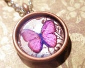Small Pink Butterfly Necklace, Premium Limited Vintage style western pendant on matching bronze chain