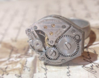 Steampunk Ring Clockwork Mechanique OX Silver  Adjustable SIZE 6.5 - 10  Up Cycled repurposed ring CR 8