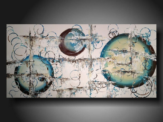 """Abstract art Large Taupe canvas Circle  painting by Artist   JMJartstudio abstract painting XXL 24"""" X 48"""""""