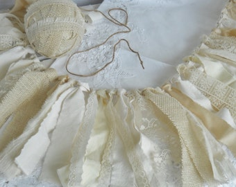 Shabby Rag Fabric Garland Vintage Inspired Rustic Prairie Cream  Ivory Natural Cotton Silk  Burlap Lace Jute