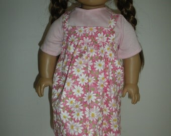 18 inch doll clothes-Pink with white daisy dress