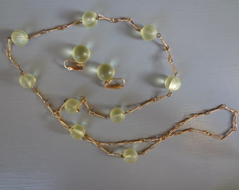 Vintage Pale Yellow Bead Necklace and Earring Set