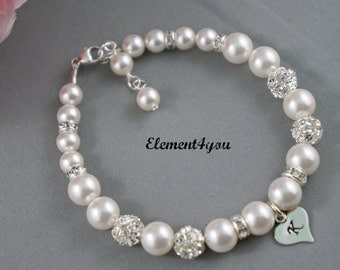 Initial bracelet, Bridesmaid personalized jewelry gift, Pearls rhinestone balls bracelet, Hand stamped heart charm, Wedding party gift
