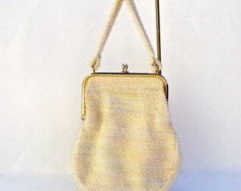Designer Beaded Bag, Pastel Bag, Clear Lucite Beads, Vintage