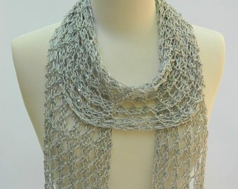Sequined Gray Cotton Scarf/ Hand Knit