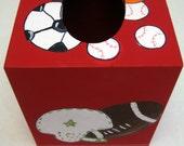 sport themed tissue box,red,sport theme,sport balls,red sports theme,tissue box cover,nursery decor,boys room decor,sport decor,boys gift