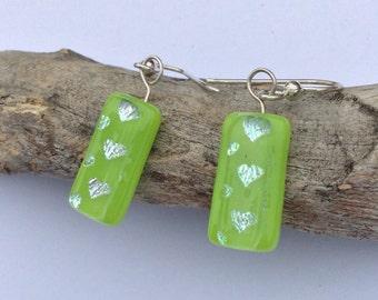 Fresh Apple Green Fused Glass Earrings,  Silver Heart Earrings, Lime Green Glass Earrings, Dichroic Jewelry, Green Jewelry, OOAK