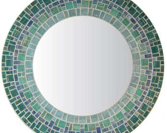 Coastal Mosaic Mirror - Sea Green, Blue, Teal, & Gray